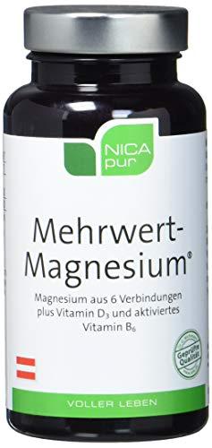 NICApur Mehrwert-Magnesium I mit 6 Magnesium-Verbindungen, die verschiedene Löslichkeitsprofile haben sowie Vitamin B6 in aktivierter Form und Vitamin D3 I Reinsubstanz ohne Zusatzstoffe I 60 Kapseln