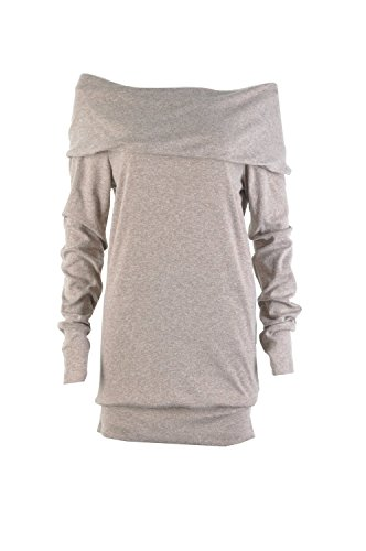 Minetom Femmes Automne Manches Femme Sexy Pull Tricot Epaule Nue Manches Longues Slim Jumpers Sweater Hauts Sweatshirt Pull Top Kaki