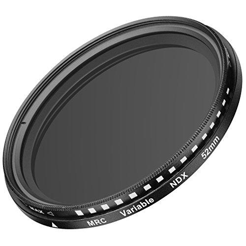 Galleria fotografica Neewer 52mm Filtro ND Fader a Densità Neutra ND2-ND400 Regolabile Ultra Sottile per Obiettivi con Filettatura 52mm, in Vetro Ottico con Telaio in Lega di Alluminio