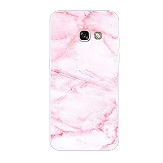 Aksuo for Samsung Galaxy A3 2017 Case,Women Girls boy Men Printed Transparent Clear Design Plastic Case with TPU Bumper Protective Cover,Pink Marble