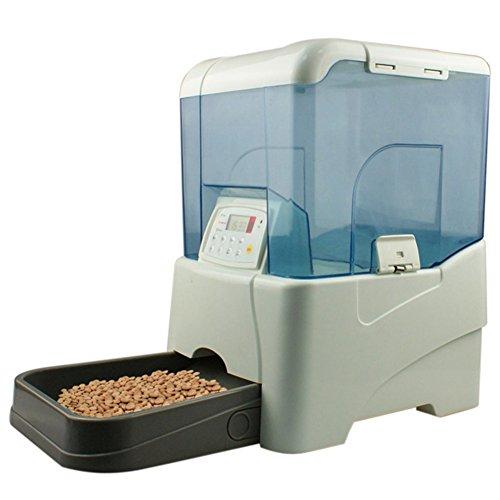 Cacoffay Alimentador Automático De Mascotas Dispensador De Comida Para Perros Y Gatos Cuatro Baterías D Grabación De 8 Segundos Programación Hasta 5 Comidas Al Día (10.6 L),Blue