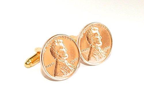 """41e anniversaire 1974 Monnaie 1 cent Jrosenthal Son Limited lincoln Paire de boutons de manchette """"un pourcentage de 1974 pour la 41e"""