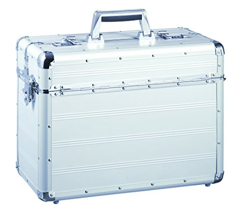Pilotenkoffer 2 flexiblen Trennfächern mit Schultergurt aus Aluminium mit Schultergurt und 2 Steckfächer