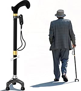 Foldable Walking Cane with Ergonomic Handle and Pivot Base Tripod for All Terrain Grip - Men & Women Confidently Travel with This Adjustable Stick - Easy Folding, Pack Small, Super Lightweight