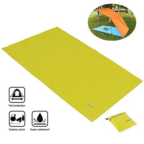 Overmont Tapis de sol Bâche Tapis de tente imperméable 247 x 146 cm portable multifonctionnel pour camping, randonnée, pique-nique, les activités en plein air