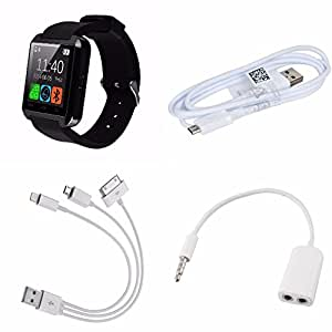 Micromax Canvas Doodle 4Ê1 Compatible CeritfiedU8 touch Smart watch, Fast Charging USB Cable, Stereo Headset Jack Audio Splitter Adapter And 3 In 1 USB Cable