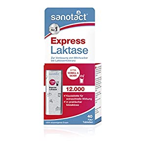 sanotact Express Laktase 12.000 FCC Tabletten – 40 Kautabletten, zur Verdauung von Milchzucker bei Laktoseintoleranz, praktische Metalldose