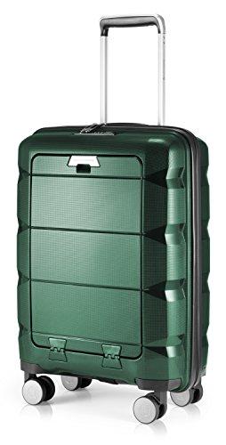 HAUPTSTADTKOFFER - Britz - Bagaglio a mano con scomparto per laptop, trolley cabina valigia rigida leggera, TSA, 4 ruote, 55 cm, 34 L, Verde scuro