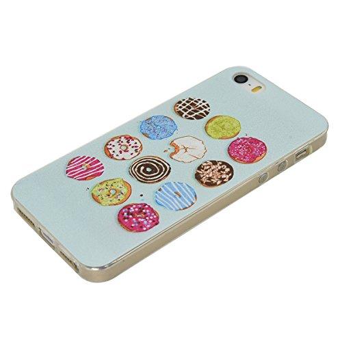 Apple iPhone 5 5G 5S SE Coque, Voguecase TPU avec Absorption de Choc, Etui Silicone Souple Transparent, Légère / Ajustement Parfait Coque Shell Housse Cover pour Apple iPhone 5 5G 5S SE (fleur colorée Donuts 04