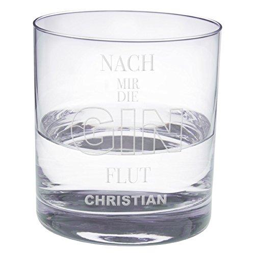 Ginglas mit graviertem Spruch (Flut): Leonardo Gin-Glas mit Personalisierung/DREI originelle Varianten Geschenkidee für sie und ihn - Whiskeyglas, Cocktailglas - Persönliche Alkohol