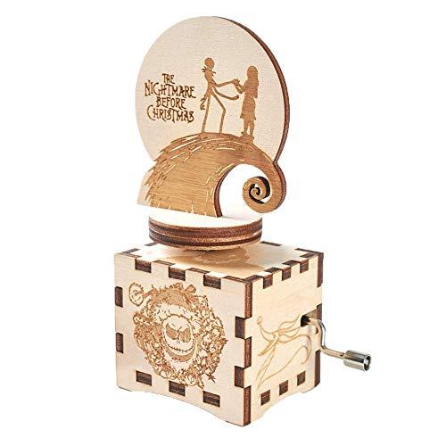 Decoración Navideña Caja De Música Navideña Manivela Manual Caja Musical Madera Tallada Regalos Musicales