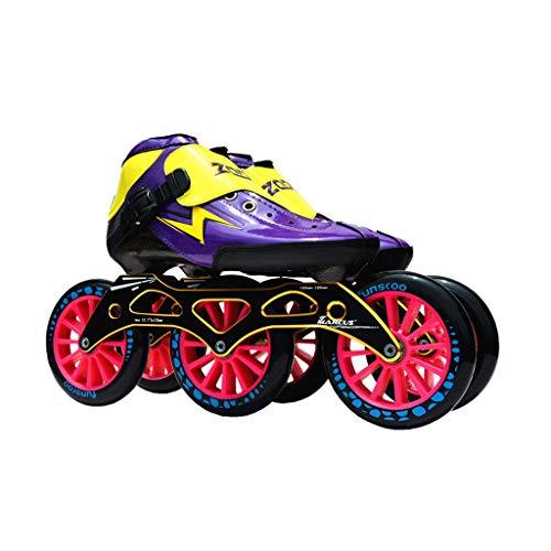 Ailjlhx ailj Eisschnelllaufschuhe 3 * 125MM Justierbare Inline-Skates, Gerade Eislaufschuhe (3 Farben) (Farbe : Purple, größe : EU 41/US 8/UK 7/JP 25.5cm)