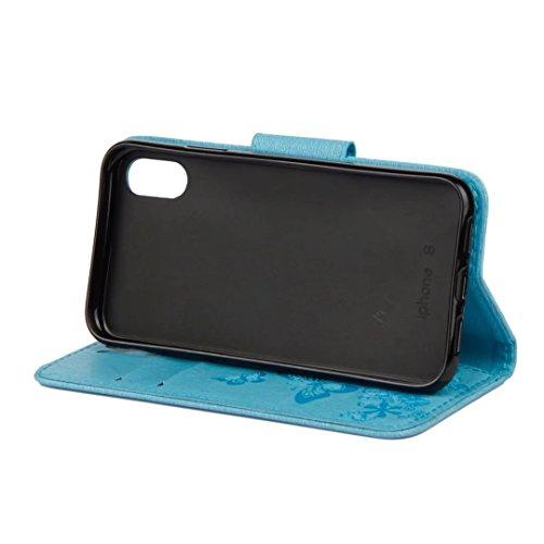 LEMORRY Apple iPhone X (iPhone 10 Ten) Custodia Pelle Cuoio Flip Portafoglio Borsa Sottile Bumper Protettivo Magnetico Chiusura Morbido Silicone TPU Case Cover Custodia per iPhone X (iPhone 10 Ten), F Azzurro