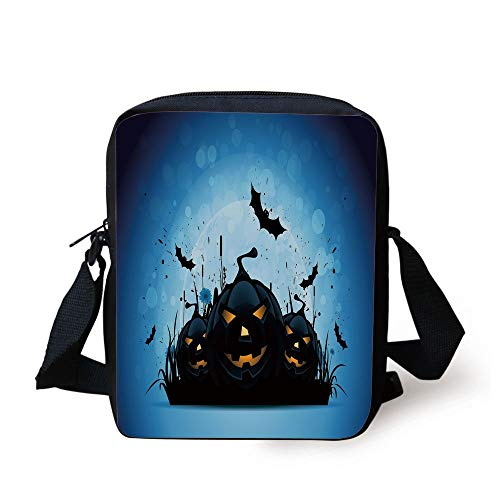 CBBBB Halloween,Scary Pumpkins in Grass with Bats Full Moon Traditional Composition Decorative,Black Yellow Sky Blue Print Kids Crossbody Messenger Bag Purse