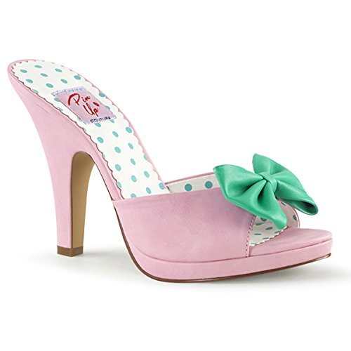 Pin Up Couture SIREN-03 Damen Retro Pantolette B. Pink-Teal Faux Leather