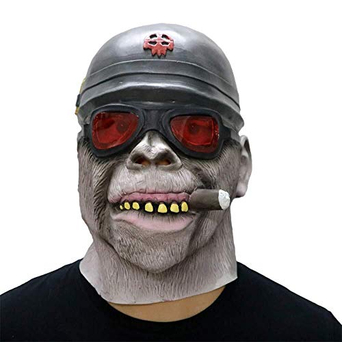 WANG XIN Halloween Maske Scary Gorilla Monkey Smoking Mask Schmelzendes Gesicht Latex Kostüm Prop Scary Mask Toy for Karneval, Weihnachten, Ostern, Silvesterparty, - Gorilla Kostüm Hunde
