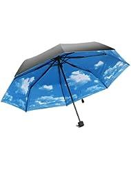 TRIXES Parapluie Original Extensible Compact Noir avec Ciel Bleu Nuageux Face Intérieure