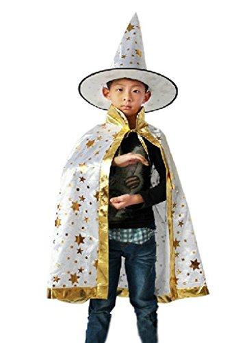 La vogue 2-teilig Kinder Kostüm Zauberer Halloweenkostüm Halloween Umhang Hexen Hut ()