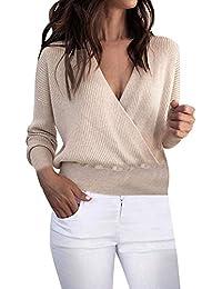 ec7beced Women's Solid Color Deep V Neck Long Sleeve Neck Hem Irregular Blouse Shirt  Hoodie White Shirt Womens Gym Clothes Womens Gym wear…