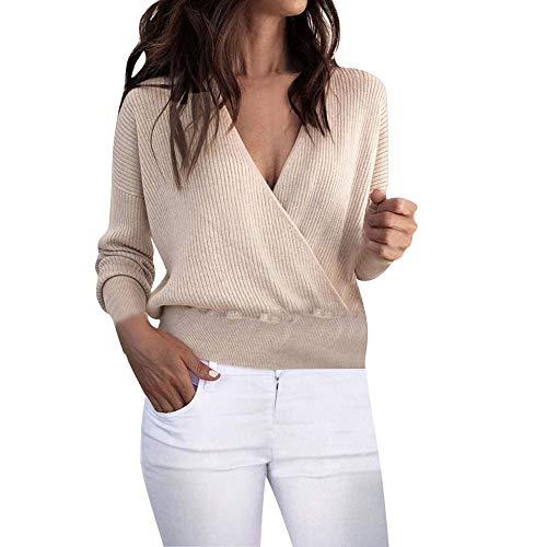 MEIbax Damen warme Langarm Pullover Kurze Sweatshirt sexy V-Ausschnitt Strick Jumper Shirt Oberteile