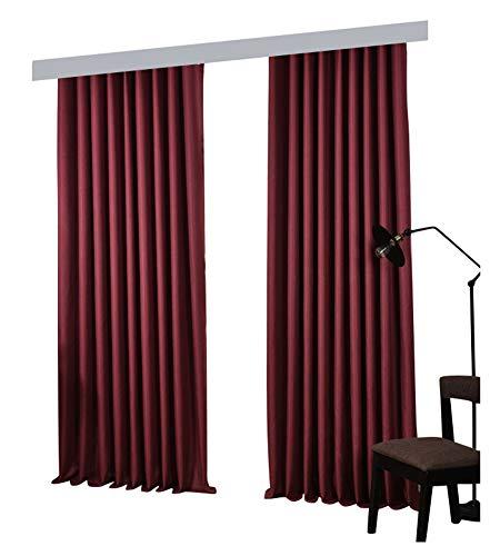 BW0057 Moderner Schlichter Stil, Dicker Soild-Effekt, Gardinenstange für Wohnzimmer, Schlafzimmer und Esszimmer, 50 x 213 cm, Rot