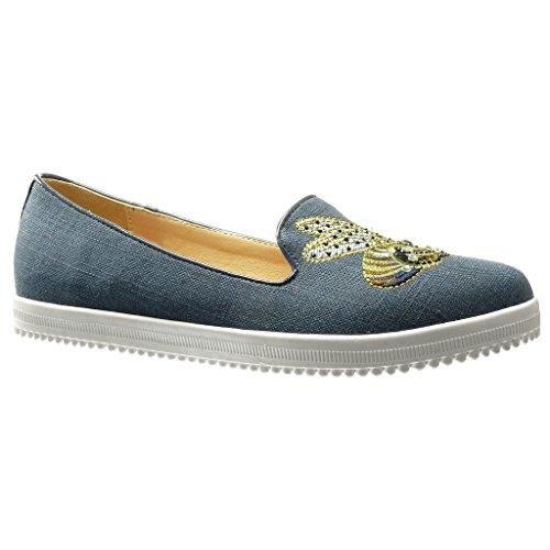 Angkorly Damen Schuhe Mokassin - Jeans Denim - Slip-on - Sneaker Sohle - Bestickt - Strass - Fantasy Flache Ferse 0 cm - Blau WH816 T - Bestickte Sneakers