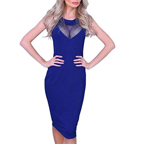 Kword Vestito Aderente Donna - Sexy - Mini Abito Prospettico Senza Maniche Per Club Party Vestito Blu