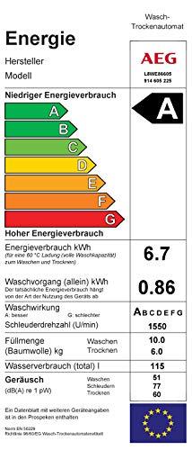 AEG L8WE86605 Waschtrockner / ÖKOMix - Faserschutz / 10,0 kg Waschen / 6,0 kg Trocknen / energiesparend / Mengenautomatik / Nachlegefunktion / ProSteam - Auffrischfunktion / Kindersicherung / 1600 U/m