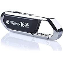 16GB USB 2.0 Flash Drive with Clip Carabiner Mini ** waterproof & fast ** Extreme Tough Made of Metal & Hard Plastic ** Ideal for Key-Chain ** in Silver and Black by meZmory ®