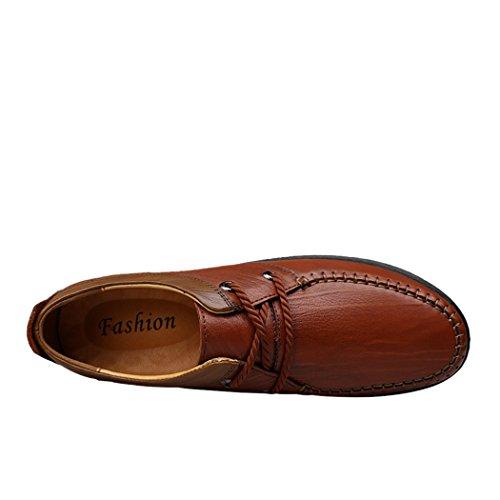 Pik & Clubs Herren-Slipper aus Echtem Leder, modisches Casual, einzigartige personalisierte Loafer, trendy, mit 2Ösen und Senkel, Flache Schuhe Braun