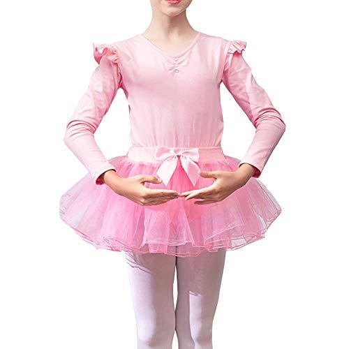 Lefuku Enfant Fille Justaucorps de Gymnastique Ballet Danse Dancewear Manches Longues avec Self-Tie Jupe en Mousseline (Rose 100cm)