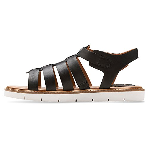 Clarks Lydie Kona Open Toe in pelle Gladiator Sandal Black Leather