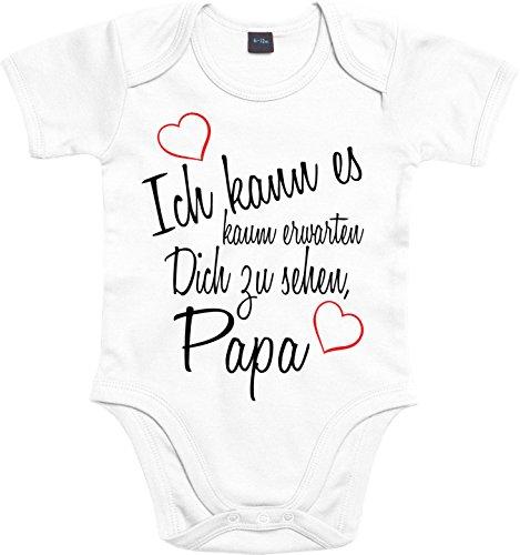 Mister Merchandise Baby Body Ich kann es kaum erwarten Dich zu sehen Papa Strampler liebevoll bedruckt Wiedersehen Weg Reise Weiß, 0-3