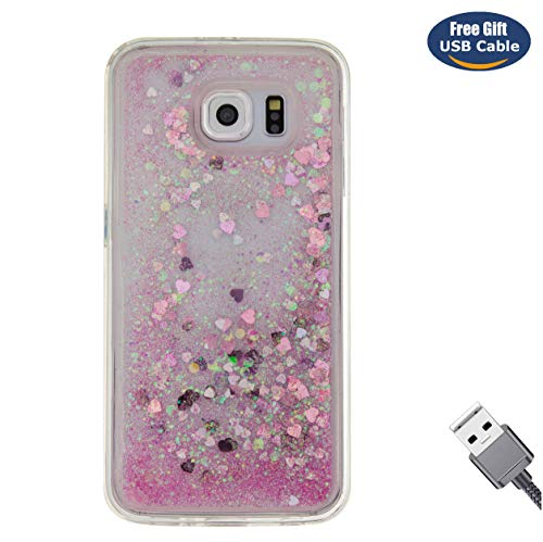 Aireratze Galaxy S6 Handyhülle,Galaxy S6 Hülle, Galaxy S6 case, Glitter Bling Liquid Clear Premium Shockproof Quicksand Protective Case Hülle for Samsung S6(Rose Gold)+ Free USB Cable