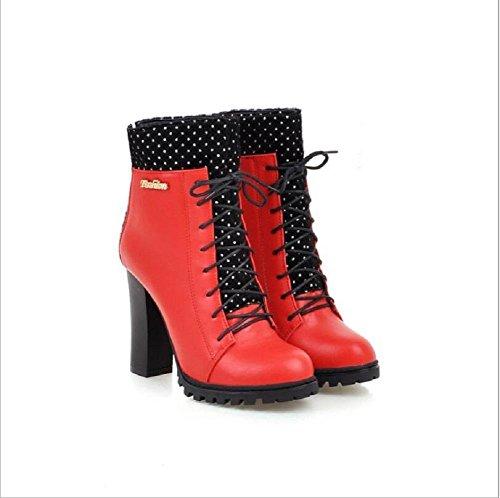 Stivali da donna tacchi alti con le piattaforme impermeabile con pesante - si è conclusa Martin stivali donna Croce - fasciato stivaletti red
