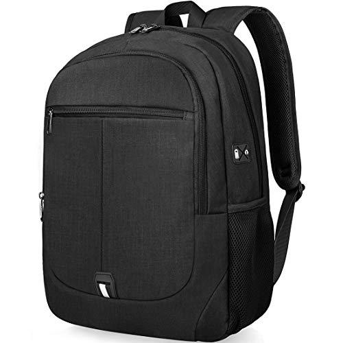 15 - Mochila Portatil Hombre 15,6 Pulgadas Impermeable Multifuncional USB Mochila para Estudiantes Ordenador Viaje Negocio Negro
