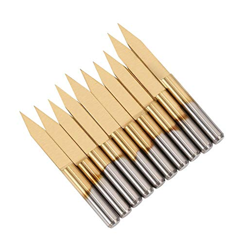 Gravur CNC Bit,Titan Beschichtet Hartmetall-Gravur Bit 30 Grad 3.175MM CNC-Router-Tools mit Box,für Leiterplatte ,10stücke,3.175 * 30 * 0.1,(Die Gummimanschette ist zufällig in der Farbe)