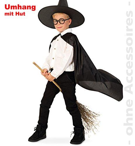 Zauberlehrling m Hut Zauberer Umhang Kinder Kostüm Gr - Zauberlehrling Kostüm