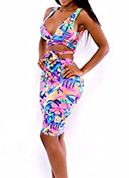 FemPool Women Tropical Floral Pattern Print Deep V-neck Super-strappy Cross Over Front Tie Non-padded High Waist Bodycon Dress Tankini Sets Swimsuit