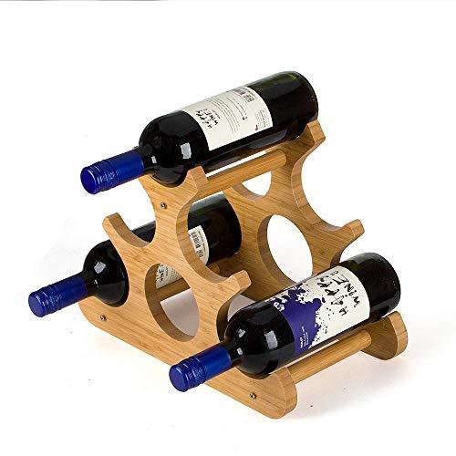 Bambus Weinregal, 6 Flaschen Wein-Anzeigen-Speicher, Hauptküche Bar Neuheit Ornament Dekor Weinflaschenhalter