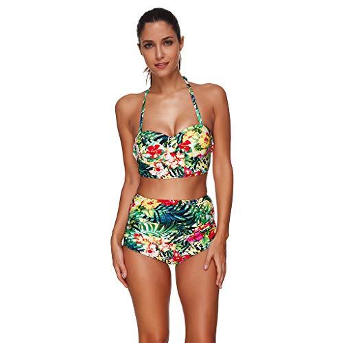 Sets Bikinioberteil Bademode BH Tankinis Sommer Drucken Sexy Sling Schlanker Split-Badeanzug Beachwear (Grün, Medium) ()