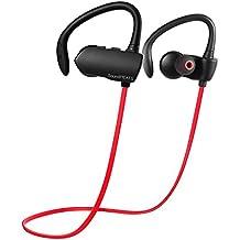 Auriculares inalámbrico Deportivos cascos Bluetooth 4.1 Conecte 2 Bluetooth-Dispositivo, SoundPEATS Q9A Auricular con Mic por 7-Horas de Hablar y Escuhar Música para iPhone Huawei, xiaomi,Samsung S6 y otros Teléfonos Bluetooth (Negro/Rojo)