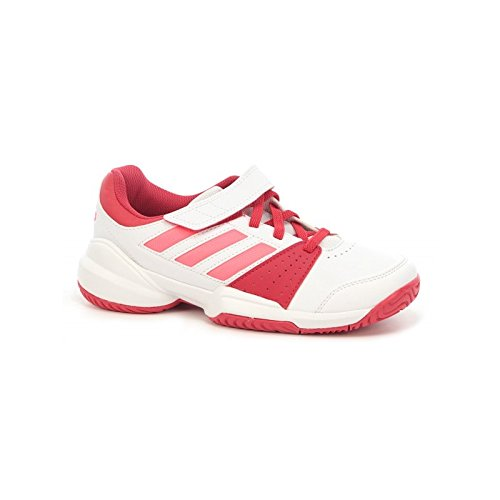 Adidas Mädchen Schuhe kidscourt EL c weiß/rot/lachs AH 2016, weiß (Rote Tennis-schuhe Für Mädchen)