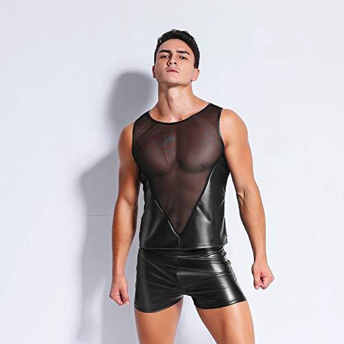 Männer Lackleder Skinny Shorts Sexy Schwarz PVC Latex Boxer Shorts Erotische Wet Look Dessous Männlichen DJ Fetisch Kostüm Club Wear,XXL