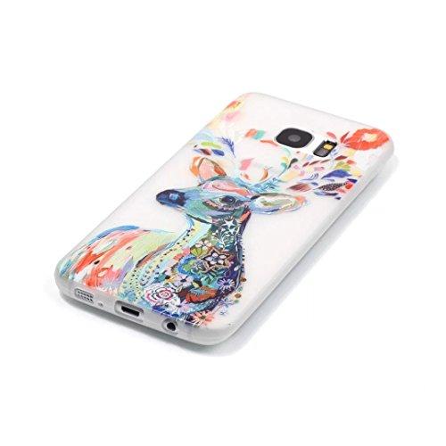 Coque Samsung Galaxy S6 Edge Plus TPU Case Cover Absorption de Choc Hull, Vandot Samsung Galaxy S6 Edge Plus Etui Silicone Souple Transparente Case Très Légère Housse Ajustement Parfait Coque pour Sam Light-cerfs Cai