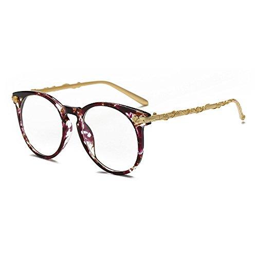 Y-WEIFENG Damen Sonnenbrille Charm Retro Flower Frame für Frauen Runde Damen Bunte UV-Schutz eingefasst Klassische Sonnenbrille für das Fahren von Reisen (Farbe : Lila)