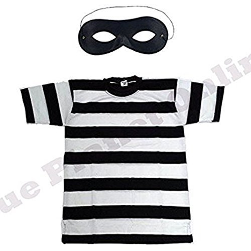 Childrens Kids Burglar Robber Thief Striped T Shirt & Eye Mask Fancy Dress Costume (7-8 years)
