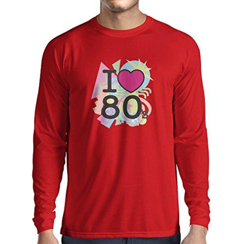 Last Ideen 30 Kostüm Minute (T-Shirt mit langen Ärmeln Ich liebe 80er Konzert t-shirts Weinlese Kleidungs Musik t-shirts geschenke (X-Large Rot)