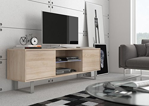 Foto de King 2 – Mueble TV design Coloris roble sonoma. Eclairage a la LED azul