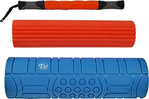 Faszienrolle - TripleRoll Blue »Das Original 3 in 1 Set« - Massagerolle zur Selbstmassage - Trigger Point Stick - Foam Roller - Fitness Pilates Yoga - 3 Härtegrade - Länge 45 cm - Übungsvideos für Rücken, Beine, Arme
